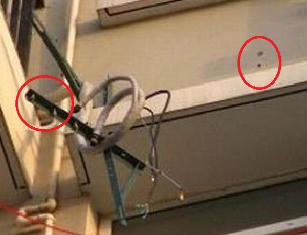 Наружный блок кондиционера упал на человека. Причина некачественный монтаж кронштейнов. Кронштейны просто вырвало из стены